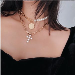 Jewelry - NEW! Gold Faux Pearl Cross Choker pendant Necklace